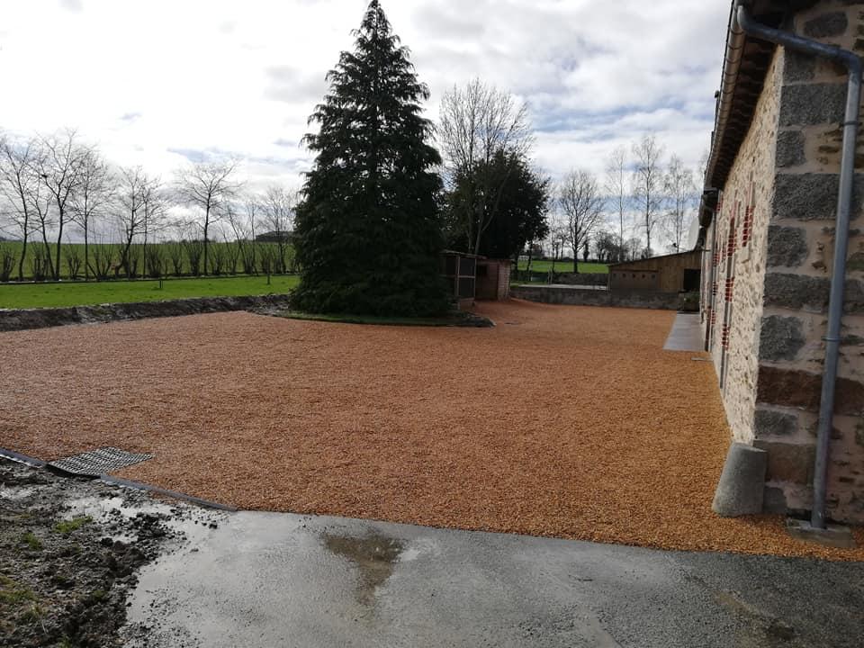 travaux aménagement extérieur jardin  création allées accès gravillonnées lamballe 22 vitré 35